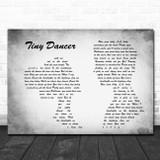 Elton John Tiny Dancer Man Lady Couple Grey Song Lyric Print