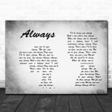 Frank Sinatra Always Man Lady Couple Grey Song Lyric Print