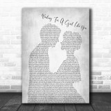 Foreigner Waiting For A Girl Like You Man Lady Bride Groom Grey Song Lyric Print