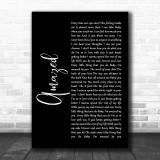 Lonestar Amazed Black Script Song Lyric Music Wall Art Print