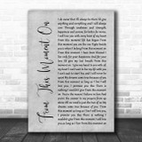 Shania Twain From This Moment On Rustic Script Grey Song Lyric Quote Print