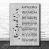 Gabby Barrett The Good Ones Grey Rustic Script Song Lyric Print