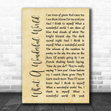 Louis Armstrong What A Wonderful World Rustic Script Song Lyric Print