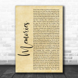 Maroon 5 Memories Rustic Script Song Lyric Print