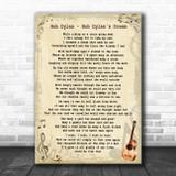 Bob Dylan Bob Dylan's Dream Vintage Guitar Song Lyric Print