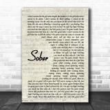 P!nk Sober Vintage Script Song Lyric Print