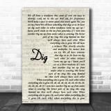 Incubus Dig Vintage Script Song Lyric Print