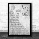 Any Song Lyrics Custom Grey Dancing Couple Personalized Lyrics Print