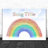 Any Song Custom Watercolor Rainbow & Clouds Personalized Lyrics Print