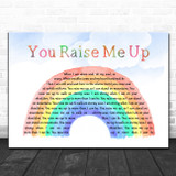 Westlife You Raise Me Up Watercolour Rainbow & Clouds Song Lyric Quote Music Print