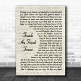 Michael W. Smith Friends Are Friends Forever Vintage Script Song Lyric Quote Music Print