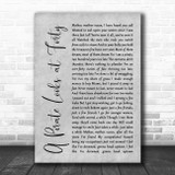 Jimmy Buffett A Pirate Looks at Forty Grey Rustic Script Song Lyric Quote Music Print