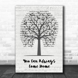 Alan Jackson You Can Always Come Home Music Script Tree Song Lyric Quote Music Print