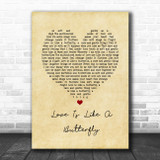 Dolly Parton Love Is Like A Butterfly Vintage Heart Song Lyric Quote Music Print