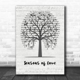 Jonathan Larson Seasons of Love Music Script Tree Song Lyric Quote Music Print