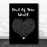 The Little Mermaid Part of Your World Black Heart Song Lyric Quote Music Print