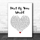 The Little Mermaid Part of Your World White Heart Song Lyric Quote Music Print