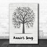 John Denver Annie's Song Music Script Tree Song Lyric Quote Music Print