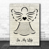 The Beatles In My Life Music Script Angel Song Lyric Quote Music Print