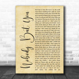 Blake Shelton Nobody But You Rustic Script Song Lyric Quote Music Print