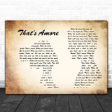 Dean Martin That's Amore Man Lady Couple Song Lyric Quote Music Print