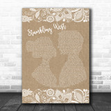 Thrice Stumbling West Burlap & Lace Song Lyric Quote Music Print