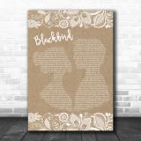 The Beatles Blackbird Burlap & Lace Song Lyric Music Wall Art Print