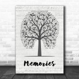 Maroon 5 Memories Music Script Tree Song Lyric Quote Music Print
