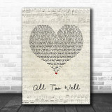 Taylor Swift All Too Well Script Heart Song Lyric Quote Music Print