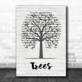 Twenty One Pilots Trees Music Script Tree Song Lyric Quote Music Print