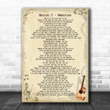 Maroon 5 Memories Vintage Guitar Song Lyric Quote Music Print