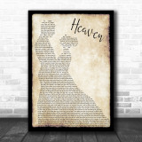Bryan Adams Heaven Song Lyric Man Lady Dancing Music Wall Art Print