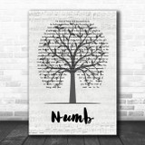 Linkin Park Numb Music Script Tree Song Lyric Quote Music Print