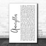 Shinedown Amaryllis White Script Song Lyric Quote Music Print