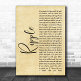 The Grateful Dead Ripple Rustic Script Song Lyric Quote Music Print