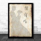 John Legend All Of Me Song Lyric Man Lady Dancing Music Wall Art Print