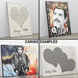 Any Song Lyrics Custom Vintage Heart Wall Art Personalized Lyrics Music Wall Art Print