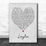 Layla Eric Clapton Grey Heart Song Lyric Music Wall Art Print