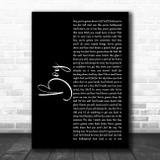 Lee Brice Boy Black Script Song Lyric Wall Art Print
