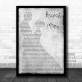 Neil Young Harvest Moon Grey Man Lady Dancing Song Lyric Wall Art Print