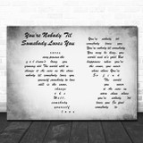 Dean Martin You're Nobody 'Til Somebody Loves You Man Lady Couple Grey Song Lyric Wall Art Print