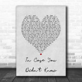 Brett Young In Case You Didn't Know Grey Heart Song Lyric Music Wall Art Print