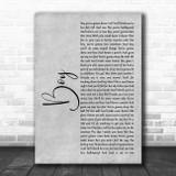 Lee Brice Boy Grey Rustic Script Song Lyric Wall Art Print