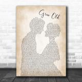 Florida Georgia Line Grow Old Man Lady Bride Groom Wedding Song Lyric Wall Art Print