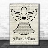 ABBA I Have A Dream Music Script Angel Song Lyric Wall Art Print