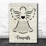 Small Town Titans Dragonfly Music Script Angel Song Lyric Wall Art Print