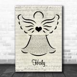 Florida Georgia Line Holy Music Script Angel Song Lyric Wall Art Print