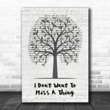 Aerosmith I Don't Want To Miss A Thing Music Script Tree Song Lyric Wall Art Print