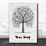 Elton John Your Song Music Script Tree Song Lyric Wall Art Print