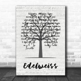 Julie Andrews Edelweiss Music Script Tree Song Lyric Wall Art Print